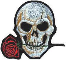 da stirare/da cucire PATCH RICAMATO distintivo teschio e rosa scheletro testa