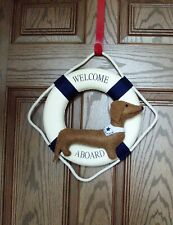 """Dachshund Felt Sculpture 12"""" Lifesaver Nautical Ring Welcome Aboard Wreath beach"""