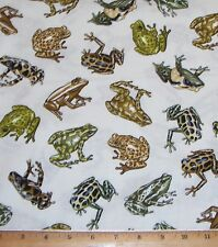 Frogs Amazon Tropic Rainforest III Fabric By the Yard 100% Cotton Amphibian