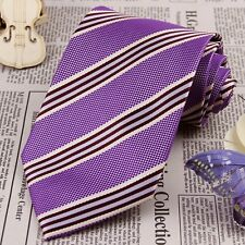 Men Purple White Ivory Stripe Tie Wedding Necktie 100% Silk Jacquard Woven JP107