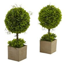 Nearly Natural 6821-S2 - Boxwood Topiary w/Planter (Set of 2) - Green