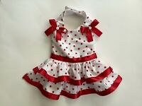 Handmade white and red polka dots dog dress size xs