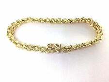 Bracelet 14k Yellow Gold - heavy double rope with box clasp and safety