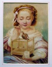 SMALL PORTRAIT A YOUNG GIRL WITH HER CANARY W/COL ENGLISH SCHOOL C1880