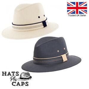 Summer Cotton Fedora Wide Brim Sun Hat Mens Womans Panama Style