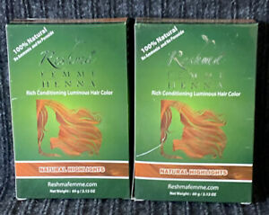 (2) Reshma FEMME HENNA Rich Conditioning Luminous Hair Color Natural Highlights