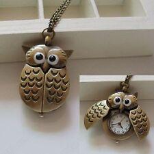 Vintage Bronze Retro Slide Smart Owl Pendant Long Chain Necklace Pocket Watch HT