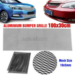 100x33cm Aluminium Car Bumper Grille Grill Mesh Net Vent 10x5mm Hole Blcak  ~