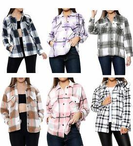 Fleece Jacket Women Shacket Women's Checkered Shirt Oversized Ladies Jackets