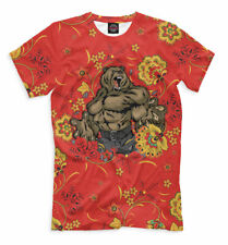 Russia t-shirt red color Khokhloma mighty bear all over print