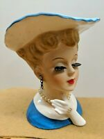 VINTAGE ANTIQUE NAPCO ELEGANT LADY W/ HAT HEAD VASE W/PEARL EARRINGS NECKLACE