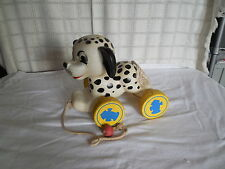 Vintage Dalmatian dog pull toy noisemaker wood wheels