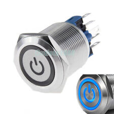 22mm 12V Blue LED Latching Push Button Switch 1NO1NC Stainless Steel Waterproof