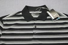 Nike Golf Logo Mens Black & White Striped Dri-Fit Stay Cool Polo Shirt NWT M $65