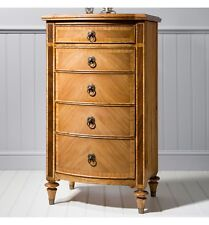 French Finest Ash & Walnut Wood 5 Drawer Lingerie Chest Of Drawers With Mirror
