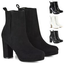 Womens Chelsea Ankle Boots Ladies Zip Block Heels Platform Booties Shoes Size
