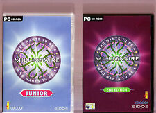 WHO WANTS TO BE A MILLIONAIRE JUNIOR EDITION & 2nd EDITION. 2 QUIZ GAMES FOR PC!