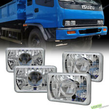 4PCS 4X6 Chrome Clear Glass Lens Projector Headlights H4 H4651 H4656 H4666 Va1