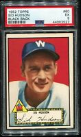 1952 Topps Baseball #60 SID HUDSON Washington Senators Black Back PSA 5 EX