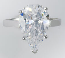 4 ct Pear Ring Vintage Brilliant Top Russian CZ Moissanite Simulant SS Size 9