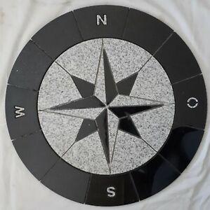 Granit Rosone Rund 60 cm für Draußen Windrose Mosaik Schwarz Weiss 036-NO, NEU