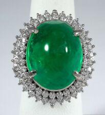 11.74ct Cabochon EMERALD PLATINUM Ring - R9529