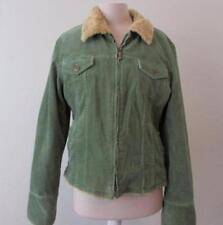 SASHIMI womens Lrg green corduroy zip lined faux fur collar jacket MINT