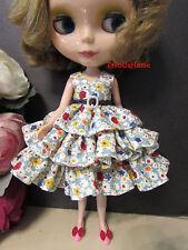 Blythe Doll Outfit Flower Print Ruffles & Belt Dress