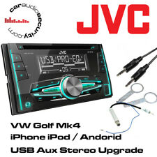 Vw Mk4 Golf Jvc Auto Stereo Cd Mp3 Usb Ipod/iphone aux Reproductor + Kit de montaje