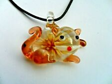 Lovely Inlaid Lampwork Glass Cat  Pendant  Necklace Brown