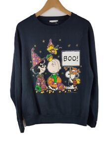Peanuts Halloween Vintage Sweatshirt Large L 80s Black Jumper Sweater Snoopy