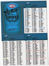2017 AFL SELECT CERTIFIED   FULL SET OF 4 CHECKLIST COMMON CARDS,