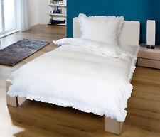 Bettwäsche Set Rüschen Reißverschluss Romantik Landhaus Vintage Baumwolle 100%
