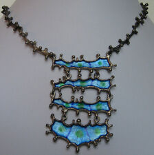 FABULOUS ISRAEL HALLMARKED VINTAGE MODERNIST STERLING BLUE GREEN ENAMEL NECKLACE