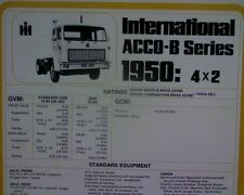 International ACCO 1950 4x2 truck, sales brochure / specification sheet MINT.