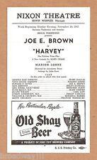 "Joe E. Brown ""HARVEY"" Mary Chase / Pulitzer Prize 1947 Pittsburgh Broadside"