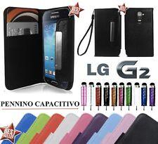 CUSTODIA FLIP COVER CASE PELLE LIBRO PORTAFOGLIO SLIM PER LG G2 D802 + PENNINO