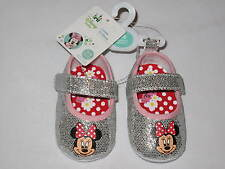 NWT DISNEY MINNIE MOUSE infant shoe GIRL 0-6M silver, pink
