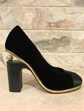 NIB Chanel 16K Black Velvet Gold Satin CC Pearl Block Heel Pump Shoe 37.5 $1150