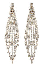CLIP ON EARRINGS - gold chandelier earring with clear crystals - Canei G