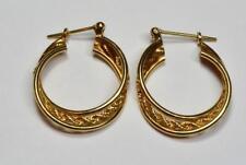 Solid 14k yellow gold pierced hoop earrings framed twisted rope design 3.4 gram
