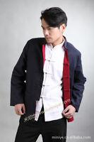 Chinese Men's double face linen Kung Fu Shirt Tops Cheongsam Sz: S-3XL