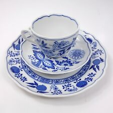 Hutschenreuther China Scalloped Blue Onion Teacup Saucer Plate Trio Set Germany