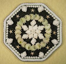 "Seashell Art SAILORS VALENTINE 8"" Octagon Shell Mosaic - Black Sand"