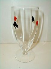 Federal Glass GRAND SLAM Playing Cards Optic Goblet/FootedTumbler 1930s