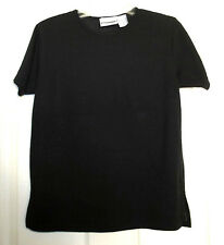 Women's Short Sleeve Black Blouse by The Villager Petite Small: