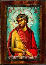Handmade Wooden Greek Orthodox Aged Icon Painting Canvas Jesus Christ M61
