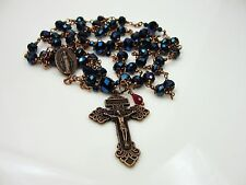 "Antique Copper Blue Crystals 29 1/4"" Rosary,Rosenkranz,Rosario & free Gift"