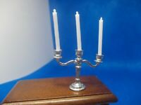SILVER COLOURED CANDELABRA WITH REMOVABLE CANDLES FOR A DOLLS HOUSE