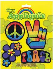 4 PEZZI FERRO HIPPIE PATCH 60's 70's CND FLOWER POWER Carnevale Costume NUOVO